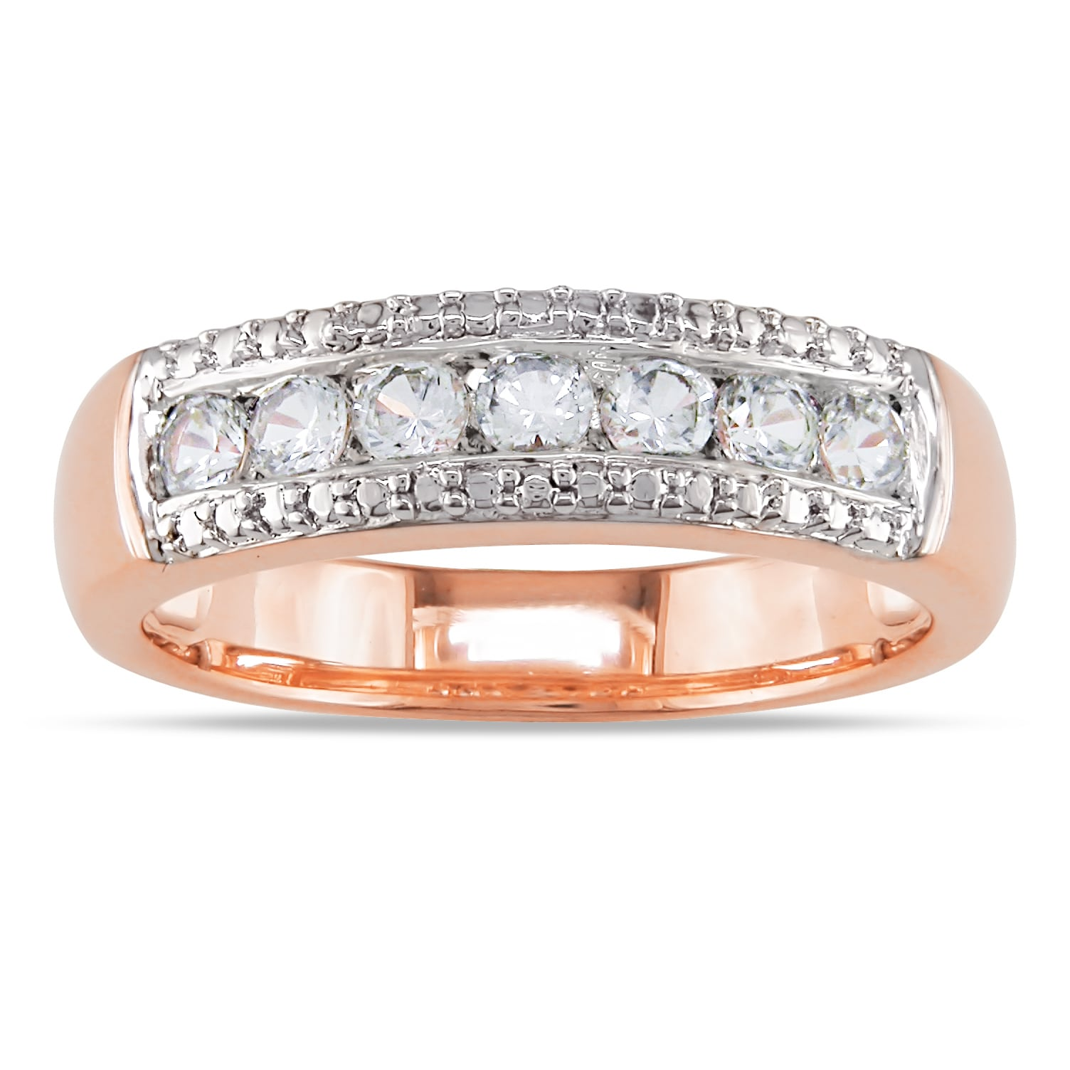 Miadora Pink Rhodium-plated Silver Created White Sapphire Ring