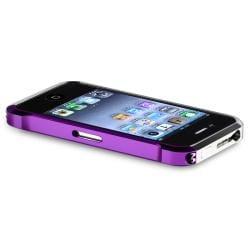 Purple/ Black/ Purple/ Silver Metal Bumper for Apple iPhone 4/ 4S - Thumbnail 2