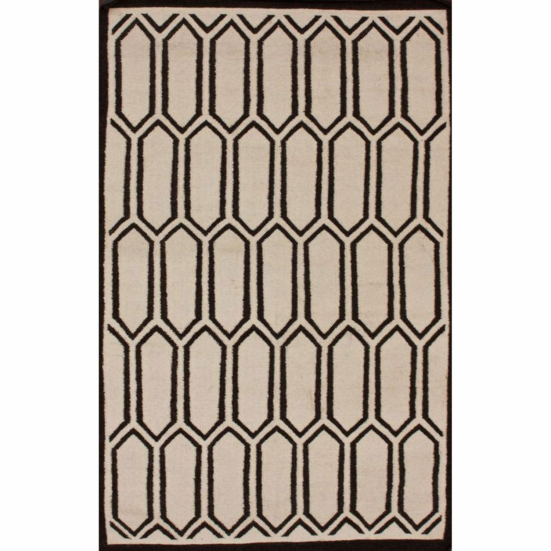 nuLOOM Handmade Marrakesh Kilim Flatweave Trellis Natural Wool Rug (5' x 8')