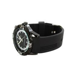 Pierre Jill Men's White Silver Dial Black Silicon Strap Watch