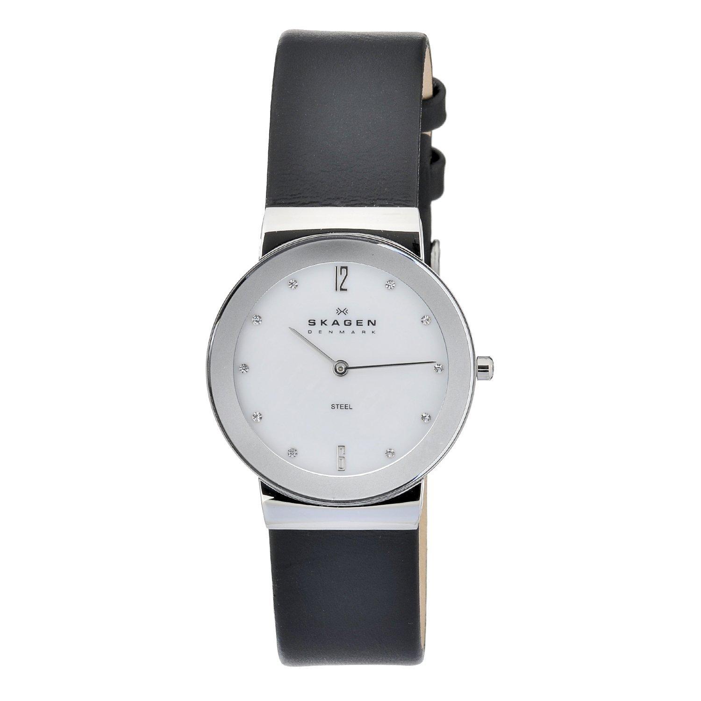 Skagen Men's 358LSLBW White Dial Black Leather Strap Watch
