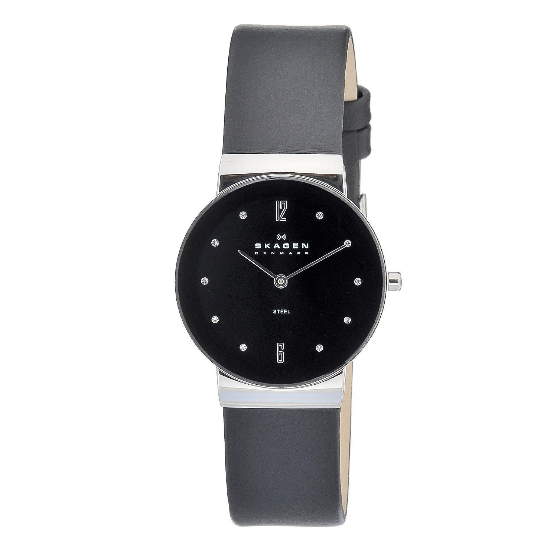 Skagen Men's Black Dial Black Leather Strap Watch
