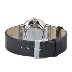 Skagen Men's 358LSLBW White Dial Black Leather Strap Watch - Thumbnail 1
