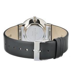 Skagen Men's Black Dial Black Leather Strap Watch - Thumbnail 1