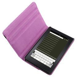 Purple Swivel Case/ Screen Protector/ Headset for Amazon Kindle Fire - Thumbnail 1