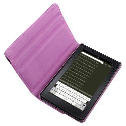 Purple Leather Swivel Case/ USB Cable for Amazon Kindle Fire - Thumbnail 1