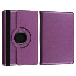 Purple Leather Swivel Case/ USB Cable for Amazon Kindle Fire - Thumbnail 2
