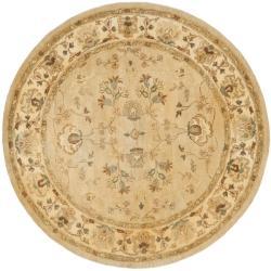 Safavieh Handmade Farahan Khaki/ Ivory Hand-spun Wool Rug (8' Round)