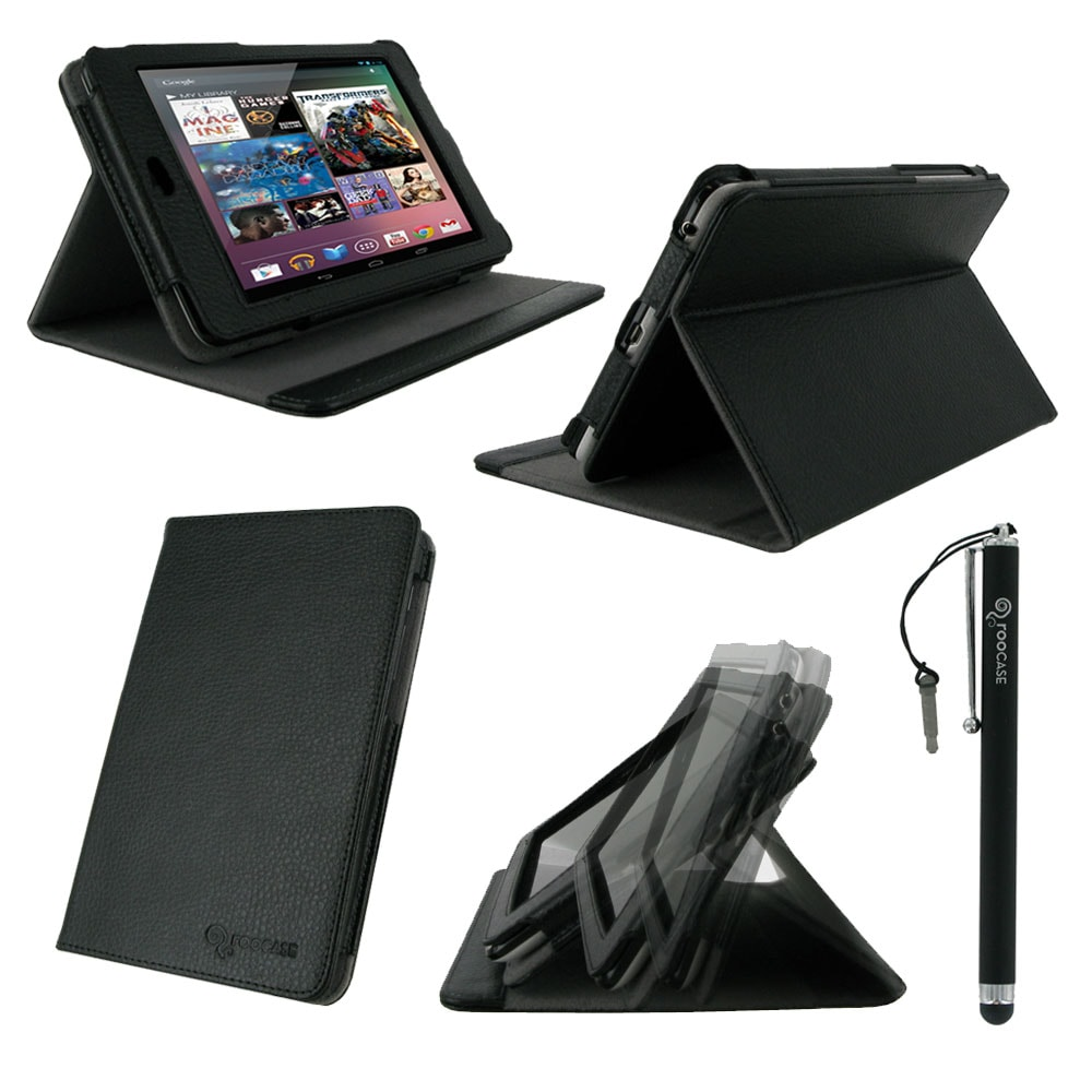 rooCASE 2n1 Multi-Angle Folio Case Cover Stand with Stylus for Google Nexus 7 Tablet