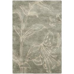 Safavieh Handmade Floral Grey New Zealand Wool Rug (2' x 3')