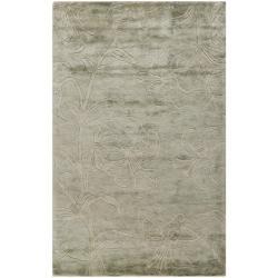 Safavieh Handmade Floral Grey New Zealand Wool Rug (7'6 x 9'6)