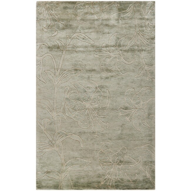 Safavieh Handmade Floral Grey New Zealand Wool Rug (7'6 x 9'6) - 7'6 x 9'6