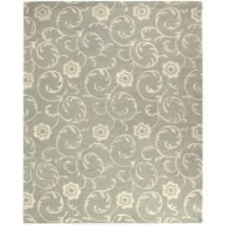 Safavieh Handmade Rose Scrolls Grey New Zealand Wool Rug - 9'6 x 13'6 - Thumbnail 0