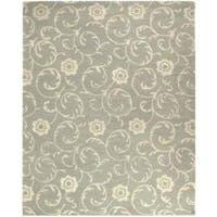 Safavieh Handmade Rose Scrolls Grey New Zealand Wool Rug - 9'6 x 13'6