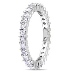 Miadora 10k White Gold 1 1/5 CT TGW Created White Sapphire Eternity Ring (Size 6) - Thumbnail 1