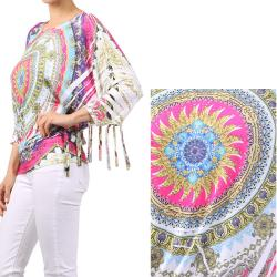Tabeez Women's Printed Fringed Sleeves Top - Thumbnail 2