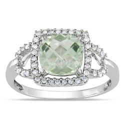 10k White Gold 2 Ct Green Amethyst and 1/5 ct TDW Diamond Ring (G-H, I1-I2)