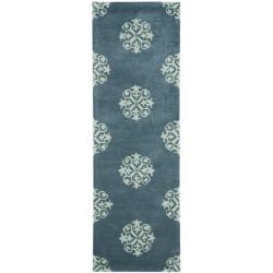 Safavieh Handmade Medallion Blue New Zealand Wool Rug (2'6 x 10')