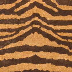 Safavieh Handmade Tiger Beige/ Brown New Zealand Wool Rug (9'6 x 13'6) - Thumbnail 2