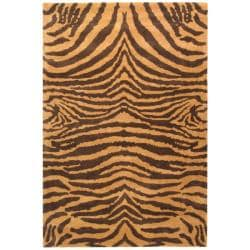Safavieh Handmade Tiger Beige/ Brown New Zealand Wool Rug (9'6 x 13'6)