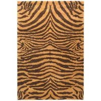 Safavieh Handmade Tiger Beige/ Brown New Zealand Wool Rug (9'6 x 13'6) - 10' x 14'