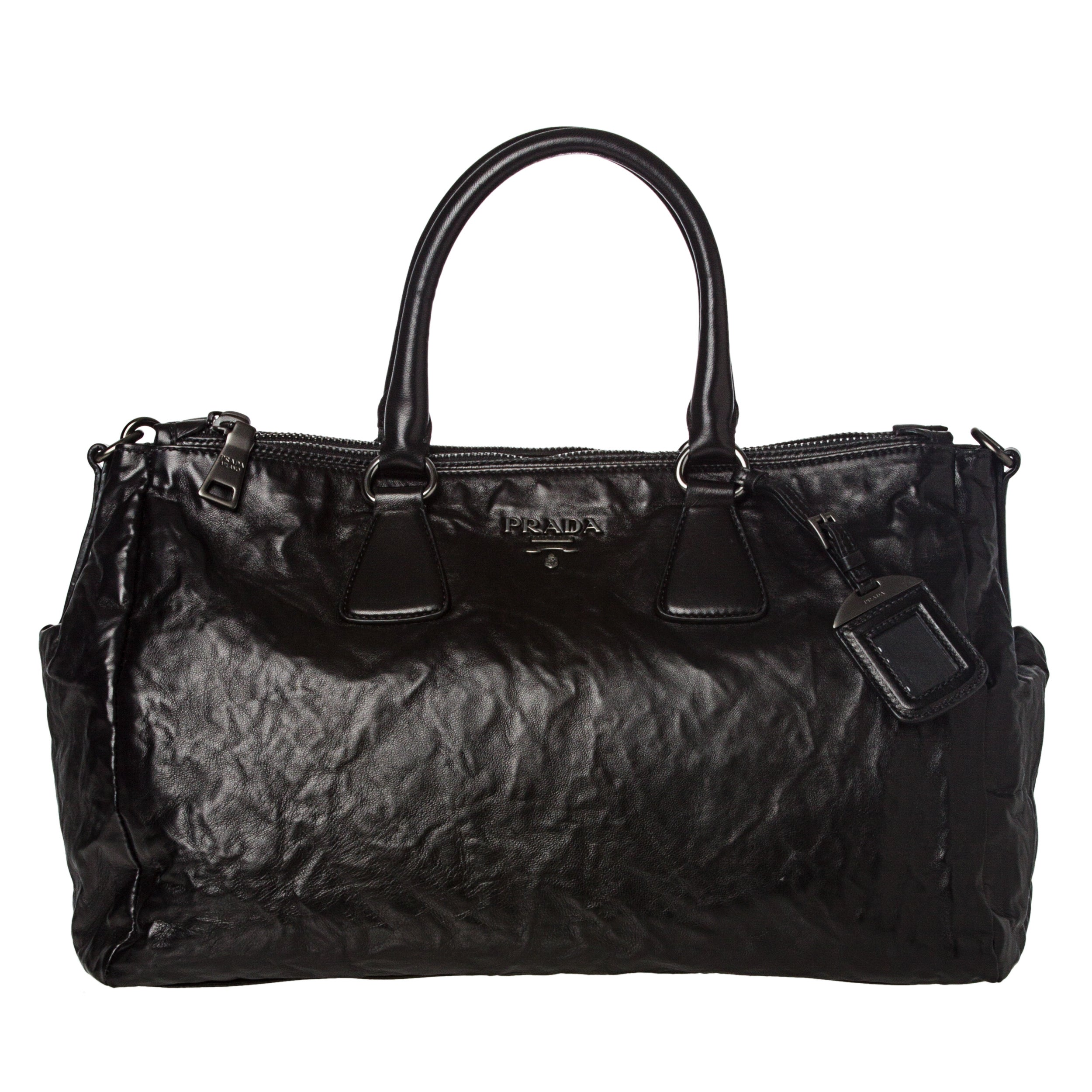 Prada Black Crinkled Leather Satchel
