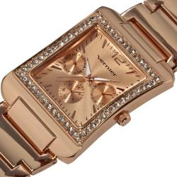 Vernier Women's Rose Tone Sparkle Rectangle Chrono-look Watch