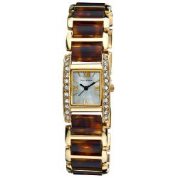 Vernier Women's Dazzling Rectangular Gold Tortoise Links Bracelet Watch