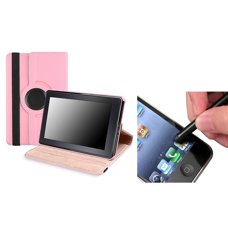 Pink Swivel Leather Case/ Black Stylus for Amazon Kindle Fire