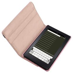 Pink Swivel Leather Case/ Black Stylus for Amazon Kindle Fire - Thumbnail 1