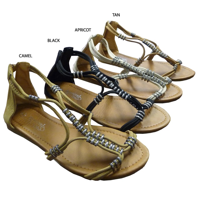 I-comfort Women's Metallic Bead Gladiator Sandals