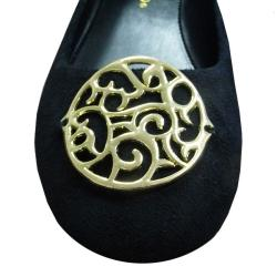 I-Comfort Women's Black Microsuede Medallion Flats - Thumbnail 1