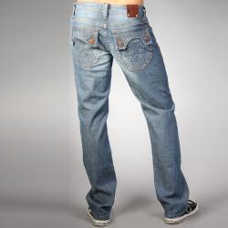 Laguna Beach Jean Co. Men's Raw Blue Skull Pocket Slim Jeans