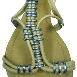 I-comfort Women's Metallic Bead Gladiator Sandals