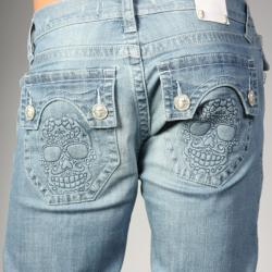Laguna Beach Jean Co. Men's Light Blue Skull Pocket Slim Jeans