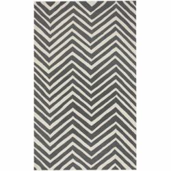 Handmade Alexa Chevron Grey Wool Rug (8'6 x 11'6)