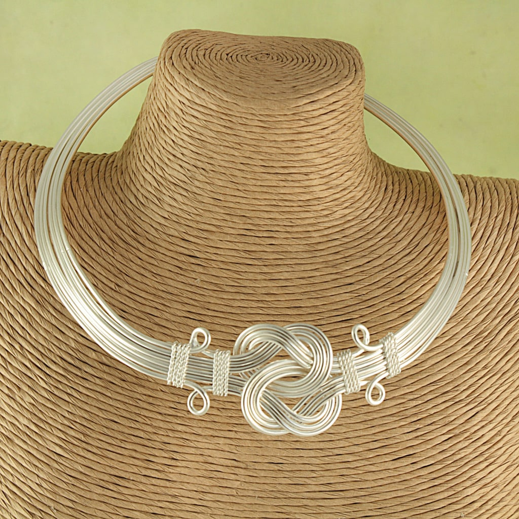 Handcrafted Silver Plated Buddha Knot Choker Necklace (India)