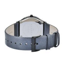 Skagen Women's Ceramic Blue MOP Dial Blue Leather Strap Watch