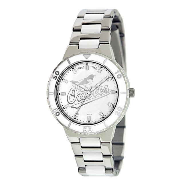 Game Time Women's MLB Baltimore Orioles Logo Pearl Watch