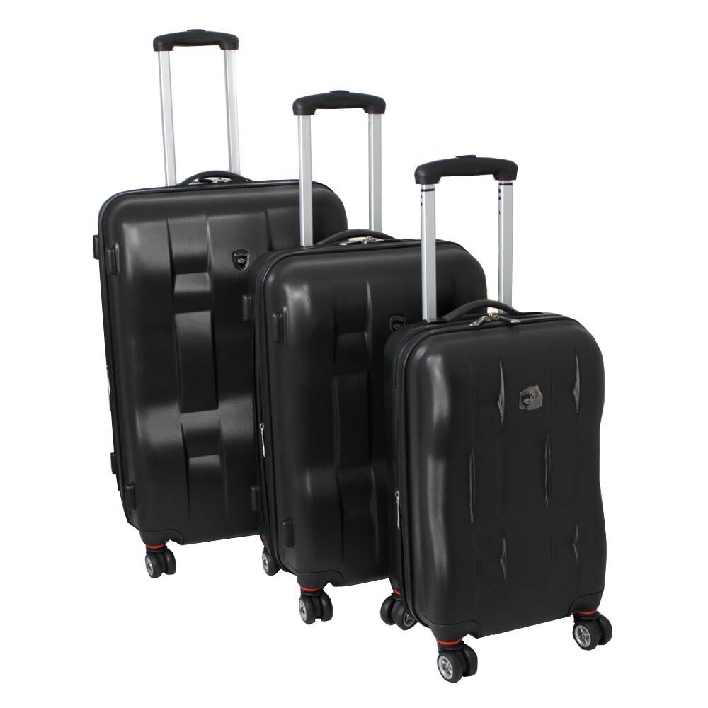 32b2f95b7102 American Travelcar 3-piece Super Lightweight Expandable Hardside Black  Spinner Luggage Set with TSA Lock