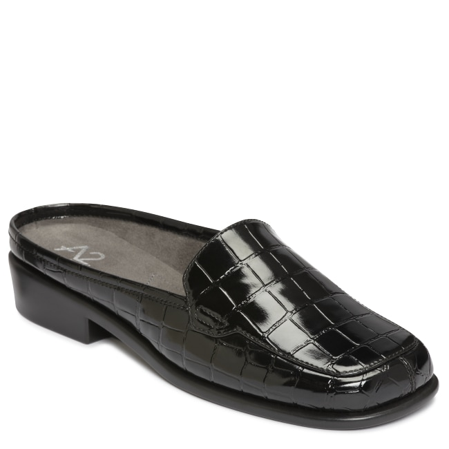A2 by Aerosoles Duble Play Black Croco Loafer