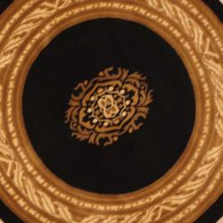 Indo Hand-knotted Tibetan Black/ Ivory Wool Rug (4' Round) - Thumbnail 1