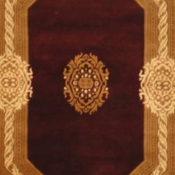 Indo Hand-knotted Tibetan Burgundy/ Ivory Wool Rug (4' x 5'11)