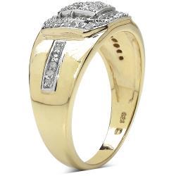 Malaika Gold over Silver Men's 3/8ct TDW Diamond Ring (I-J, I2-I3) - Thumbnail 1