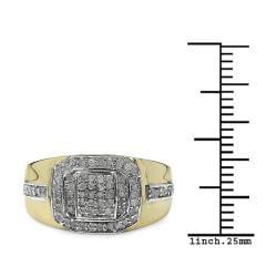 Malaika Gold over Silver Men's 3/8ct TDW Diamond Ring (I-J, I2-I3) - Thumbnail 2