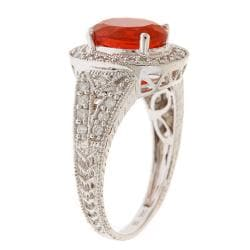 D'Yach 14k White gold Fire Opal Ring with Diamonds TDW 2/5 carat - Thumbnail 1