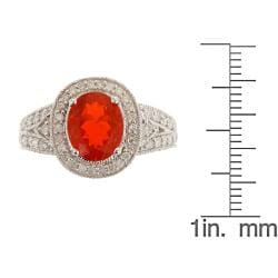 D'Yach 14k White gold Fire Opal Ring with Diamonds TDW 2/5 carat