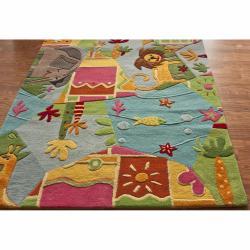 nuLOOM Handmade Kids Jungle Wool Rug (5' x 7') - Thumbnail 1