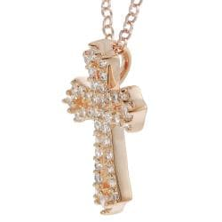 Journee Rose Gold-plated Sterling Silver Cubic Zirconia Cross Necklace
