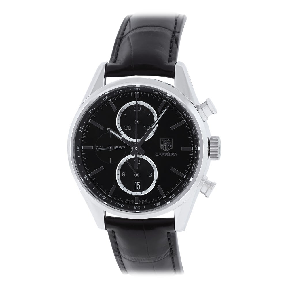 Tag Heuer Men's 'Carrera Calibre 1887' Stainless Steel and Leather